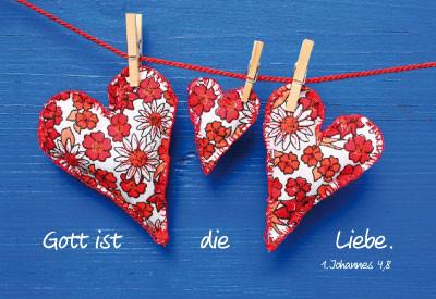 Minikarten Herzen an Leine