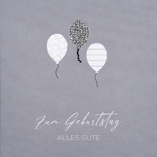 Doppelkarte Luftballons Strassstein