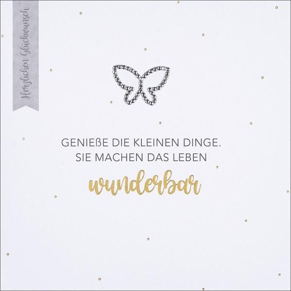Doppelkarte Strassstein Schmetterling