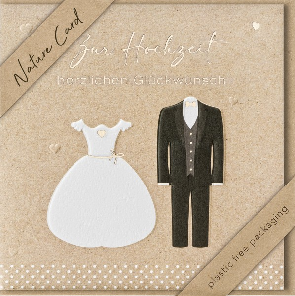 Doppelkarte Brautkleid Hochzeitsanzug