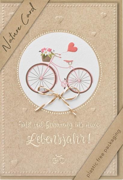 Doppelkarte Fahrrad mit Blumenkorb NC
