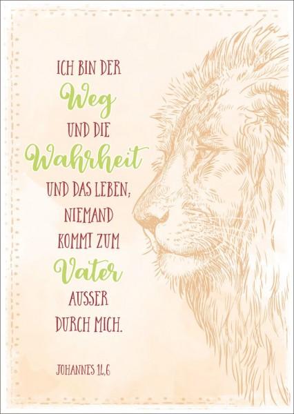 Postkarte Ich bin der Weg / Löwe