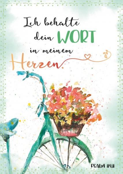Postkarte Rad mit Blumenkorb