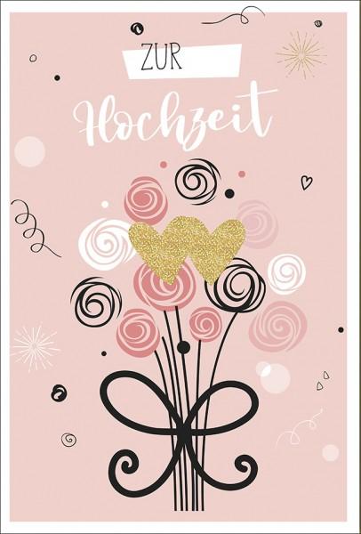 Doppelkarte Glitterherzen Blumenstrauß