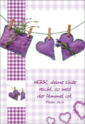 Minikarten Lavendelherzen