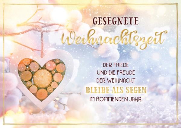 Postkarte WH Holzherz an Baum GF