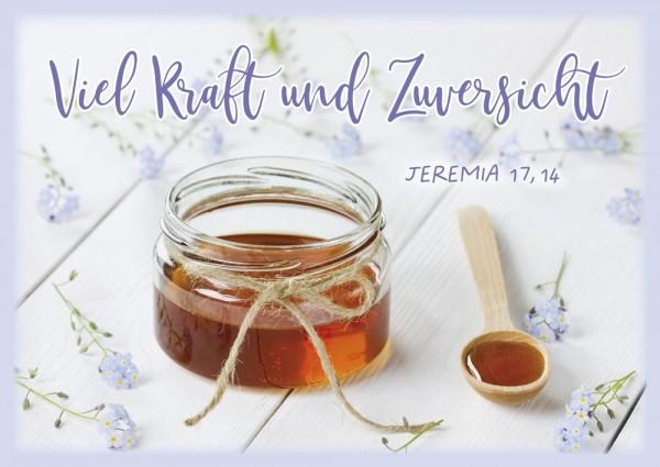 Postkarte Viel Kraft und Zuversicht / Honigglas