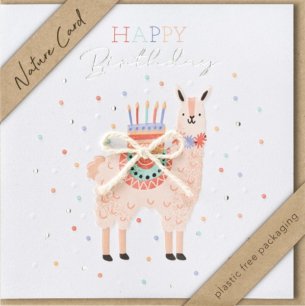 Doppelkarte Geburtstagstorte Lama NC