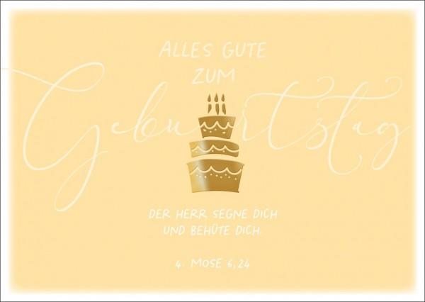 Postkarte Geb. Goldene Torte GF