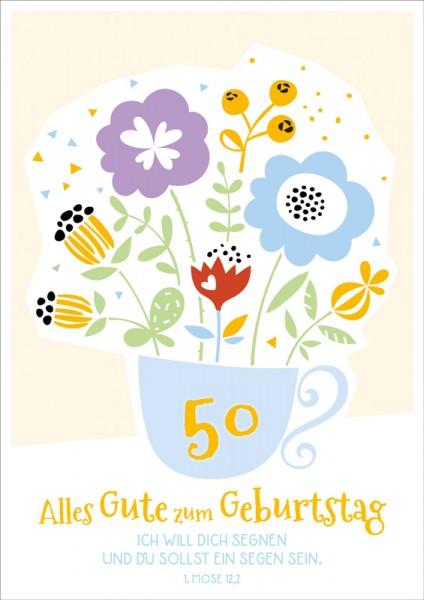 Doppelkarte 50 Blumen in Tasse GF