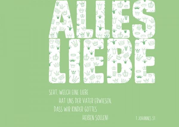 Postkarte Alles Liebe grün