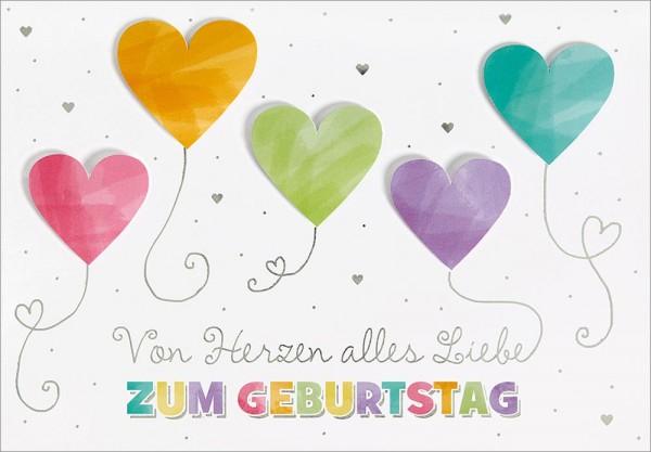 Doppelkarte Von Herzen/Luftballons
