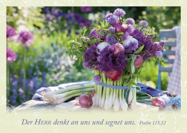 Postkarte Der HERR denkt an uns / Garten