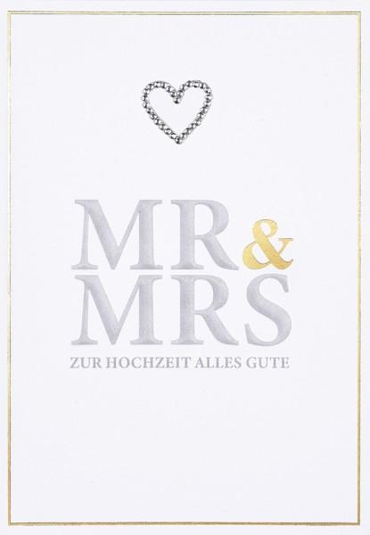 Doppelkarte Mr & Mrs Strasssteinherz
