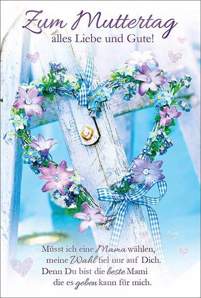 Doppelkarte Muttertag - Blumenherz