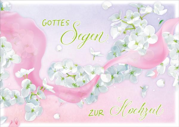 Doppelkarte Rosa Band und weiße Blüten