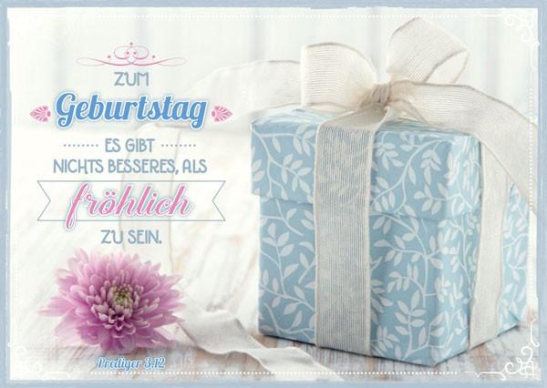 Postkarte Geb. Geschenk hellblau