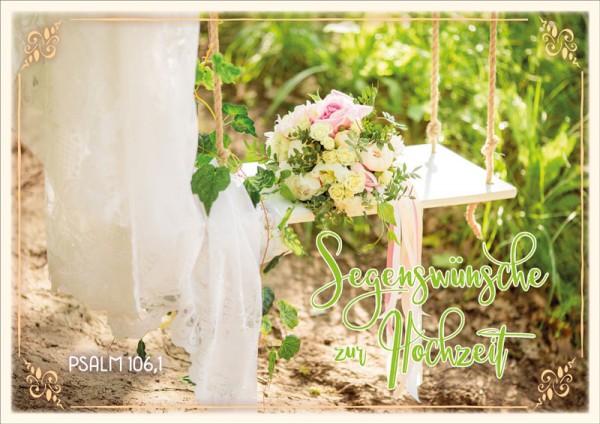 Doppelkarte Brautstrauß auf Schaukel