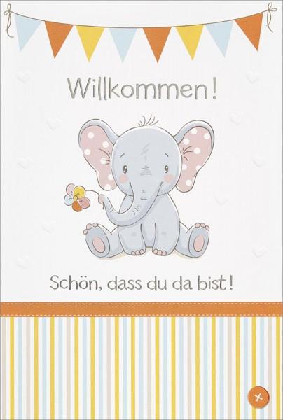 Doppelkarte Elefant mit Blüte