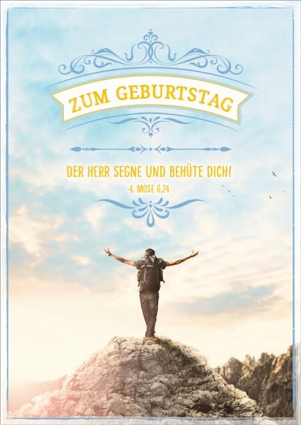 Postkarte Mann auf Berggipfel GF