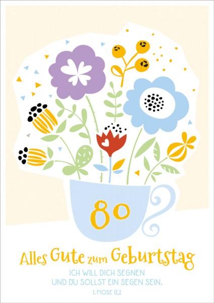 Doppelkarte 80 Blumen in Tasse GF