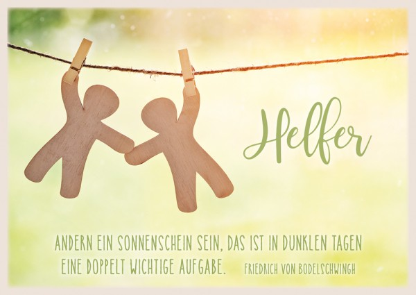 Postkarte Helfer / Männchen an Leine