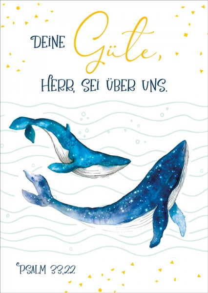 Postkarte Deine Güte Wale GF