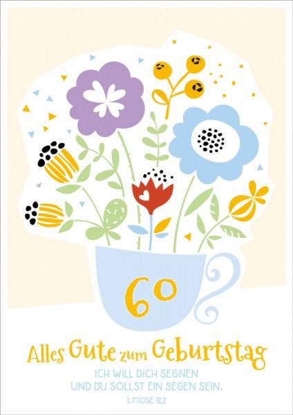 Doppelkarte 60 Blumen in Tasse GF