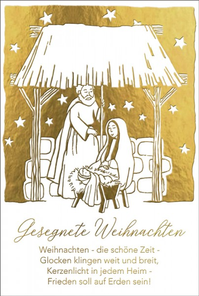Doppelkarte Maria und Josef im Stall