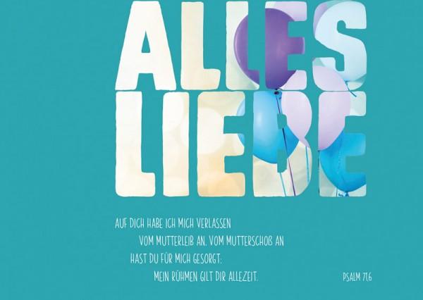 Postkarte Alles Liebe / Ballons