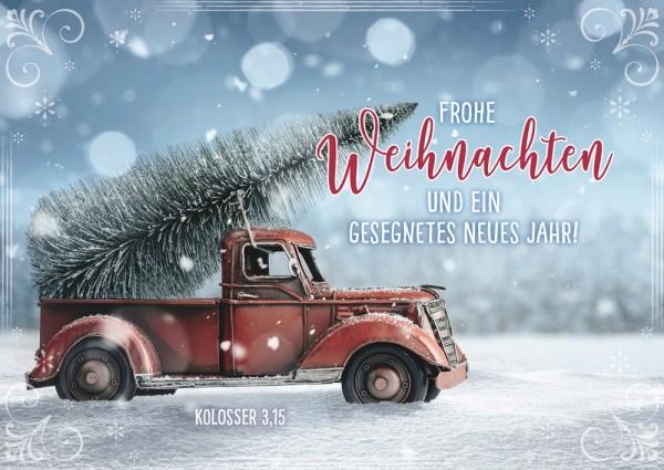 Postkarte WH Pickup mit Tannenbaum
