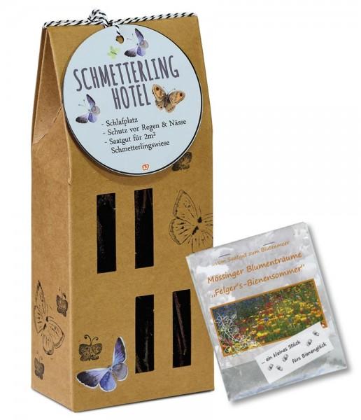 Schmetterlinghotel mit einer Tüte Wildblumensamen