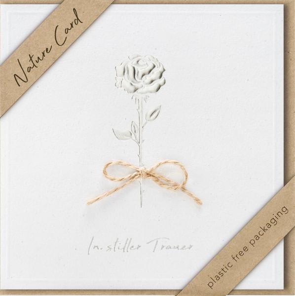 Doppelkarte Rose mit Bastschleife NC
