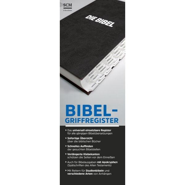 Bibel-Griffregister (weißer Grund mit schwarzer Schrift)