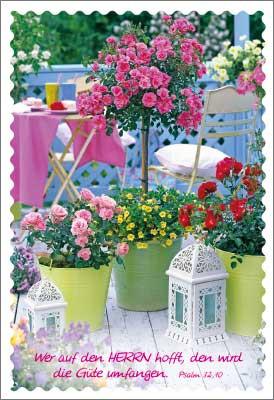 Minikarten Balkon mit Blumen