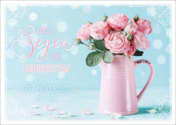Postkarte Geb. Rosen in rosa Kanne