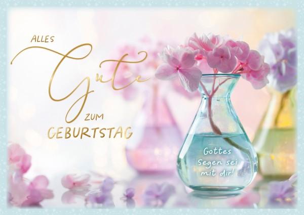 Postkarte Geb. Hortensienblüte GF