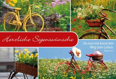 Minikarten Fahrräder/Blumen - Set mit 12
