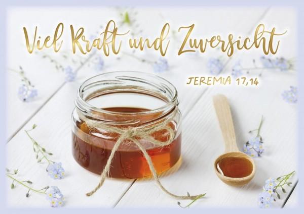Doppelkarte Viel Kraft und Zuversicht / Honigglas GF