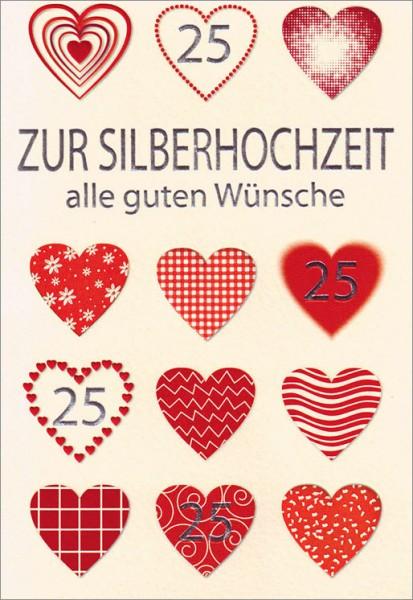 Doppelkarte 25 Herzen