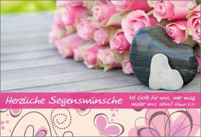 Minikarten Rosen mit 2 Herzen