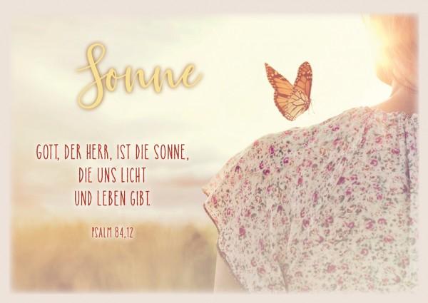 Postkarte Sonne/Schmetterling