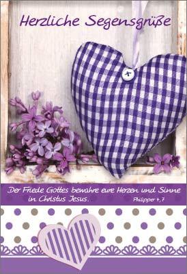 Minikarten Herz mit Flieder