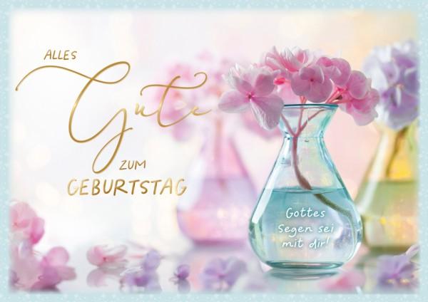 Doppelkarte Hortensienblüte in Glasvase GF