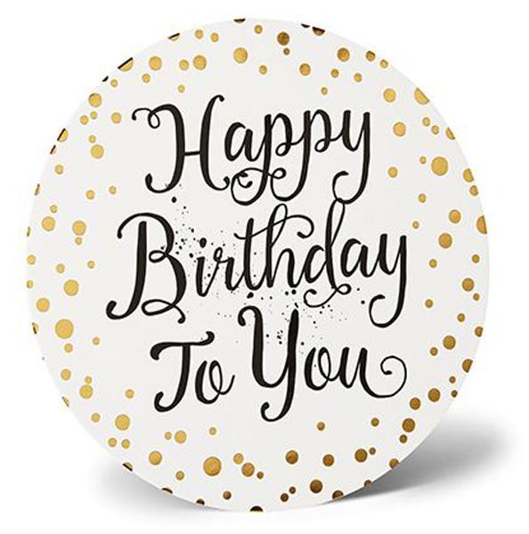 Stand-Up-Greeting Happy Birthday - goldene Punkte