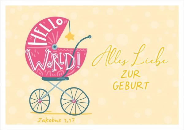Doppelkarte Hello Word / Kinderwagen GF