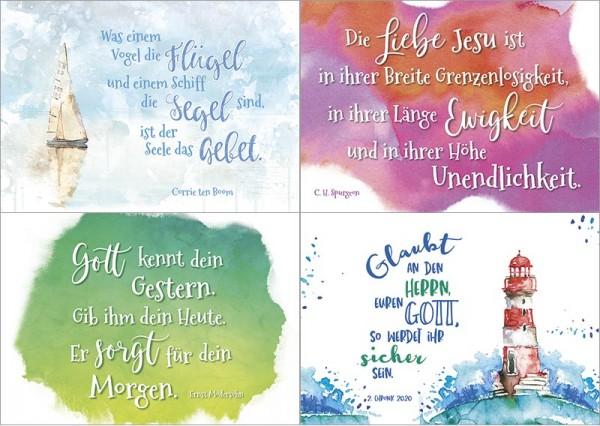 Minikarten Aquarell BW