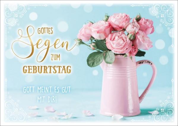 Doppelkarte Rosen in rosa Gießkanne