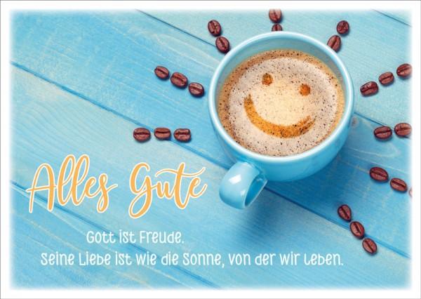 Postkarte Cappuccino Smiley-Gesicht