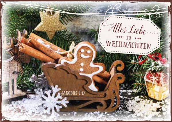 Postkarte Weihnachtsschlitten